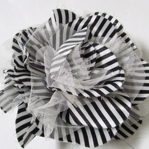 Chico's Nikita Striped Flower Magnetic Brooch
